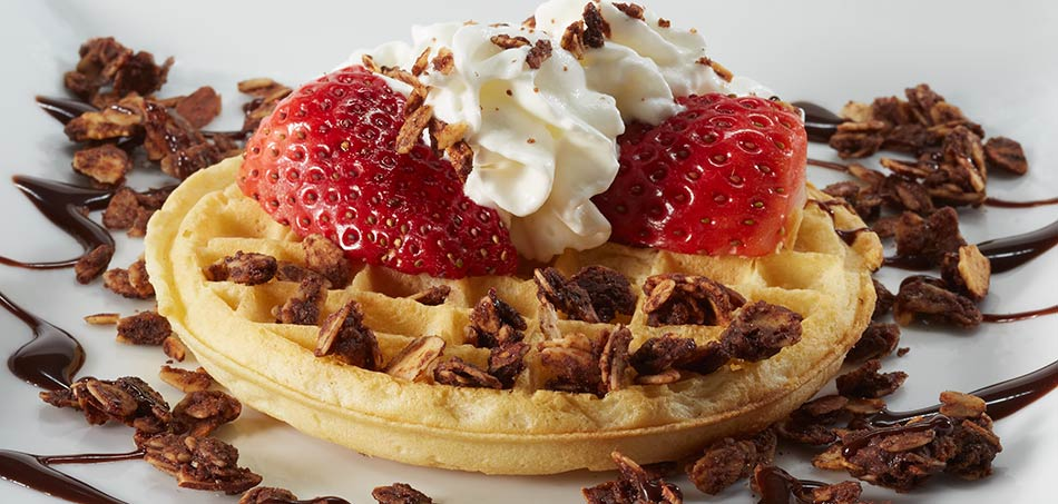 Chocoate-Mocha Granola on a waffle with strawberries